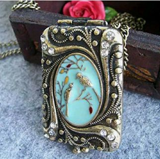 Vintage Retro Copper Flower Rhinestone Bird Locket Pendant Necklace Chain