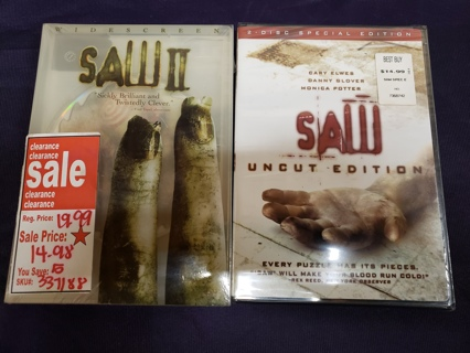 Lot of 2 Brand New Horror/Scary Movies DVD Videos Saw Uncut Edition & Saw II