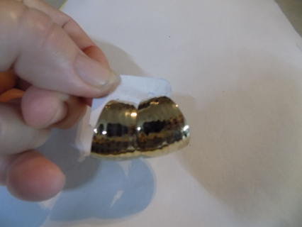 Post earrings goldtone wide hammered hoops