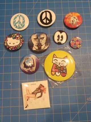 Collectible 10 piece button pin lot