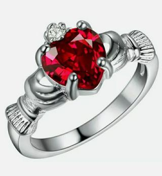 Fashion Silver Heart Shape Sea Blue zircon Crown Wedding Jewelry Ring Size 6-10