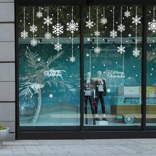 DIY White Snow Christmas Wall Stickers Window Glass Festival Decals Santa Murals New Year Christma