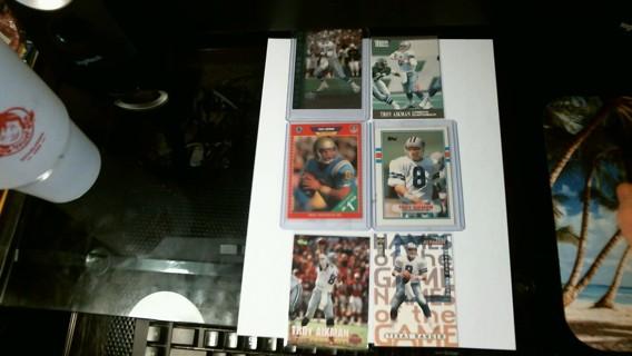 Six Troy Aikman Football Cards