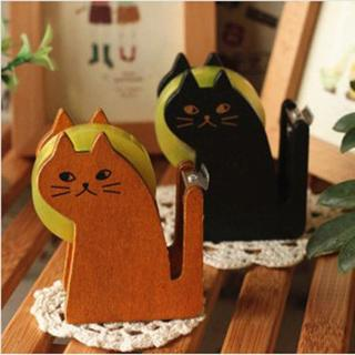 Vintage Wooden Cute Tape Dispenser Cutter Kawaii Cat Office Accessory Mini Washi Cutting Holder Pa