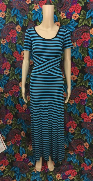 women's blue black striped dress maxi dress size MEDIUM