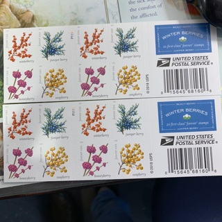 Brand New UNHINGED WINTER BERRIES USPS Forever Stamps 2 Books of 20 ~Total of 40 Forever Stamps~