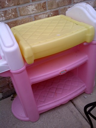 free pick me up little tikes pink bassinet changing table double high chair dolls stuffed. Black Bedroom Furniture Sets. Home Design Ideas