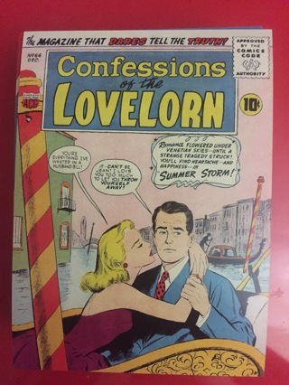 CONFESSIONS OF THE LOVELORN COMIC POSTCARD