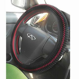 1pc x Black/Red Elastic Ice Silk DIY Car Steering Wheel Cover Sets 36-38CM Great