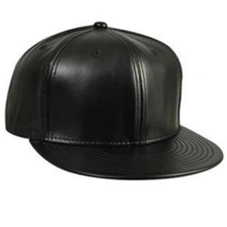 MEN'S New Era LEATHER BLANK Black Fitted Hat 7 5/8 NWT New Era