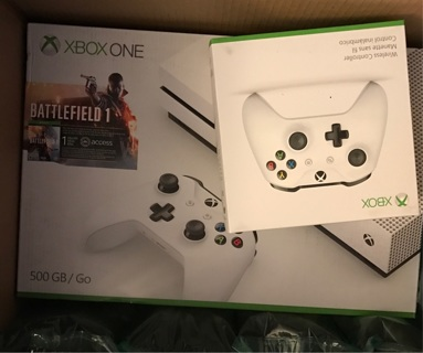 Xbox 1 s 500gb battlefield 1 console bundle white with free 2nd remote