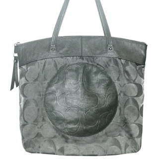 """COACH #19440 - Large Charcoal Embossed Signature """"C"""" Laura Tote!"""