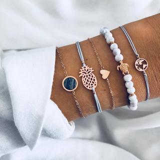5 Pcs/set Bohemian Pineapple Turtle Heart Earth Bracelet Sets for Women Weave Rope Chain Bracelets
