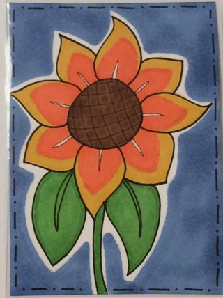 Sunflower original drawing aceo