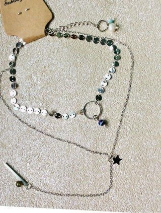Layered Silver Tone Necklace with A Few Gemstones