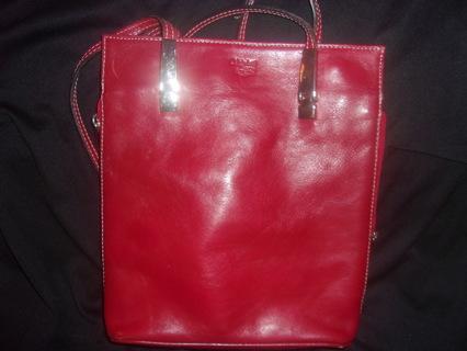 Maledetti Toscani Red Italian Leather Messenger Style Handbag