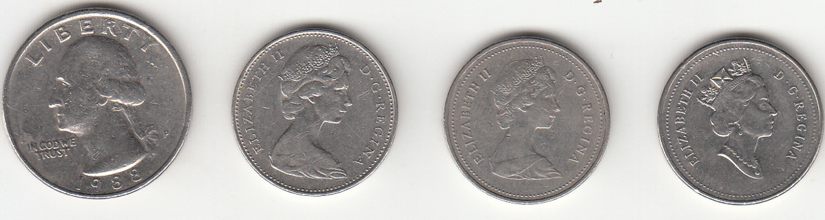 3 Canada 5 Cents 1977, 1986 & 1994 Coins