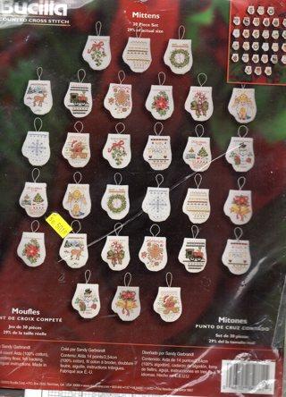 Christmas Mittens Cross Stitch Pattern