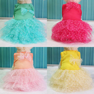 Pet Dog Bow Dress Lace Princess Skirt Puppy Cat Party Tutu Dress Summer Clothes