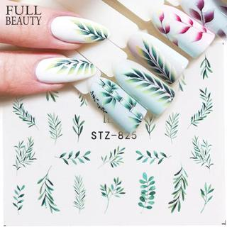 1pcs Water Nail Decal and Sticker Flower Leaf Tree Green Simple Summer Slider for Manicure Nail Ar