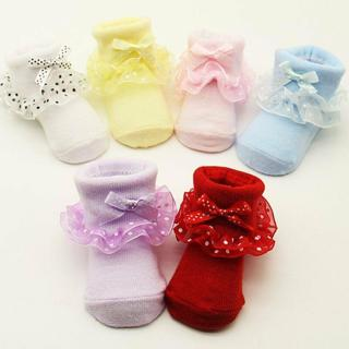 Newborn Baby Girl Toddler Lovely Lace Ruffle Frilly Cotton Ankle Socks 0-6Months