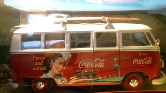 """New in Sealed Box 1:24 Scale Die-Cast Model: """"Coca~Cola Volkswagen T1 Bus SurfBoard 1962 Welly"""""""