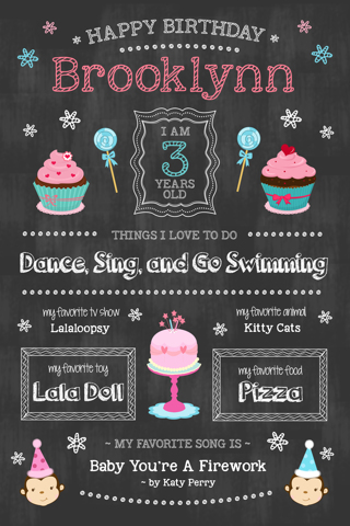 Free your choice of little girls 1st birthday chalkboard for First birthday board template