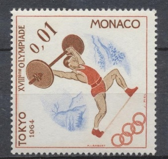 Monaco:  1964, Summer Olympics, Tokyo, Weightlifter, MNH - MON-ST-3502