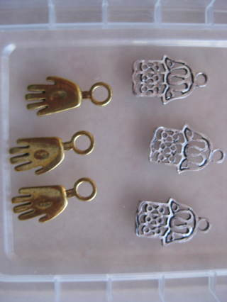 hamsa/Hand charms, known for protection, 3 charms of your choice, silver or gold color