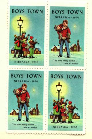 Vintage~12 Boys Town Stamps~Christmas
