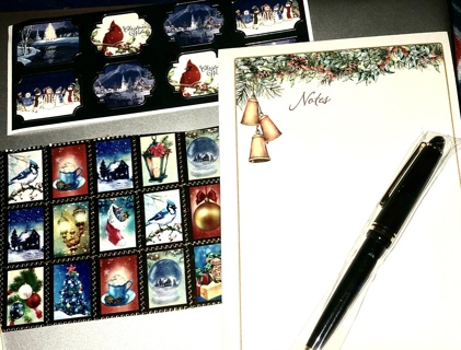 Brand New Beautiful, Retractable Ink Pen With XMas Note Pad and Holiday Stickers. Free To Ship!