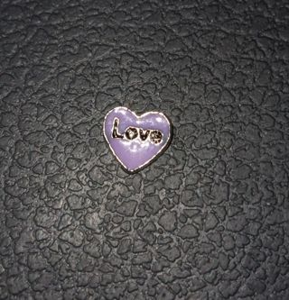 Purple Love heart living locket charm