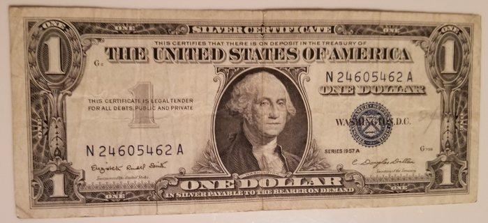 2 1957 USA $1 Dollar Silver Certificate