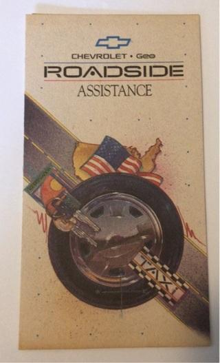 Vintage 1991 Chevrolet / Geo Roadside Assistance Pamphlet