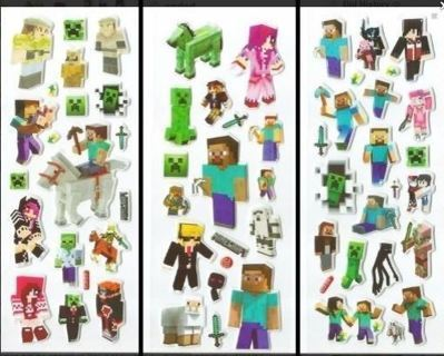 NEW MINECRAFT Puffy Stickers Video Game Crafts Games Hobbies FREE SHIPPING