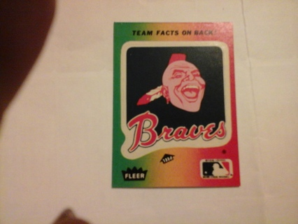 1982 FLEER BRAVES STICKER TRADING CARD