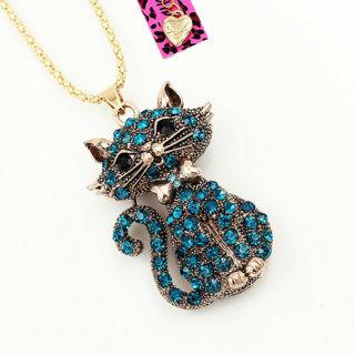 Betsey Johnson Blue Crystal Bowknot Cat Kitten Pendant Sweater Chain Necklace