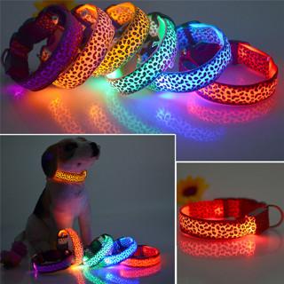 Fashion Leopard LED Dog Collar Flashing In Dark Nylon 3 Mode Lighting Safety LED Pet Collar 2.5cm