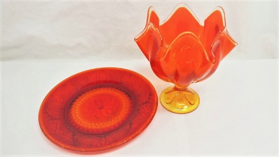 Amberina Glass Flame Bowl and Engraved Plate