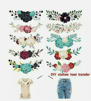 10pcs Flower Iron On Heat Transfers Patches for Clothing T-shirt DIY Applique