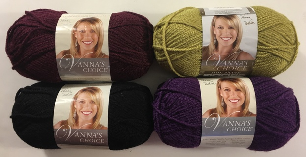 Vanna's Choice Lion Brand Acrylic Yarn Lot of 4 Skeins - Color: Pea Green, Eggplant, Black, Burgundy