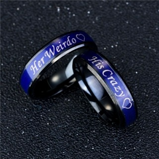 His Crazy Her Weirdo Couple Ring Temperature Change Color Discolor Rings Gifts