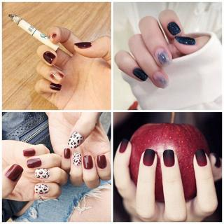 Simple 24pcs/set black+red gradient jump color design finished fake nails short size full nail tip