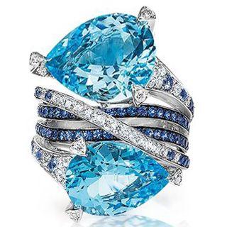 Huge 6.7ct Aquamarine 925 Silver Woman Jewelry Wedding Engagement Ring Size 6-10