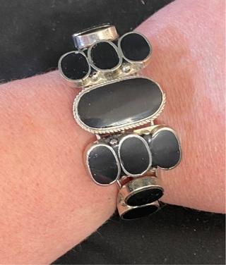 Black Stone Cuff Bracelet