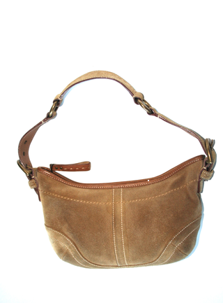 Coach Small Hobo Shoulder Bag Leather Suede Camel Beige Light Brown F04s 9658