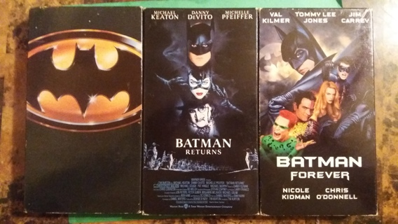VHS movie set batman/batman returns/batman forever free shipping