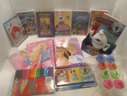 NEW, Kids DVD Lot of (7) & Coloring Book Bundle