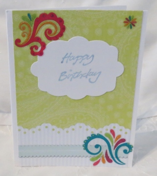 Blue and Green Handmade Birthday Card for Her
