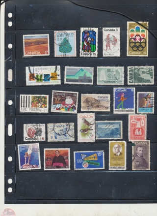 (30 + 5 Bonus) Stamps from Canada,  All Different, Vintage, Used, Cancelled - CAN-211